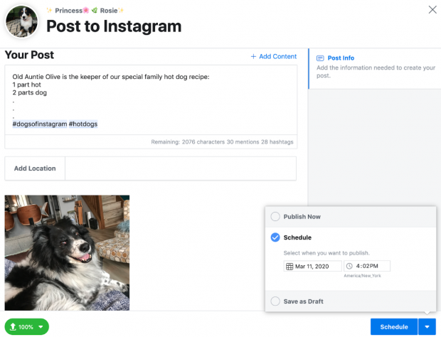 Screenshot of the window to create and schedule an Instagram post using Hootsuite