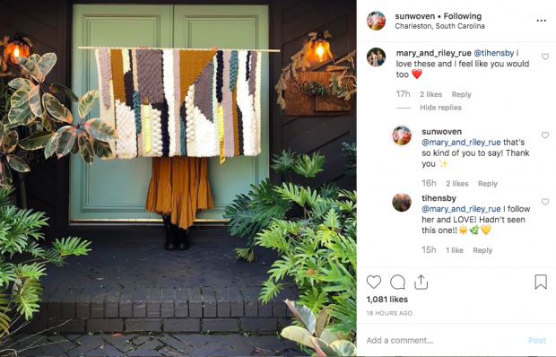 Screenshot of Sunwoven Instagram post where all comments have replies