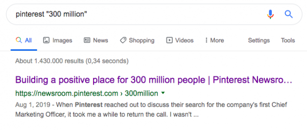 "Google search for ""Pinterest 300"""