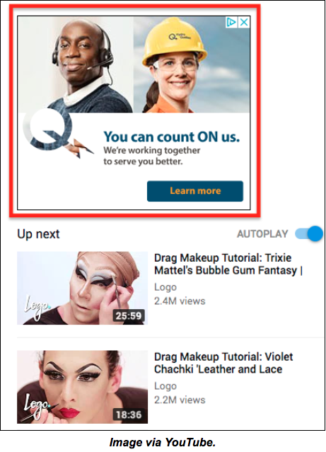 screenshot of a display ad on youtube
