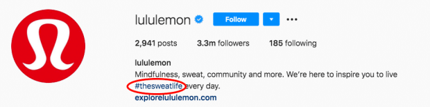 Lululemon's branded hashtag in the Instagram bio section