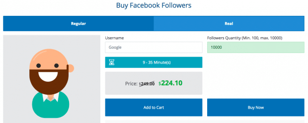 Instafollowers dashboard prompting to buy Facebook followers