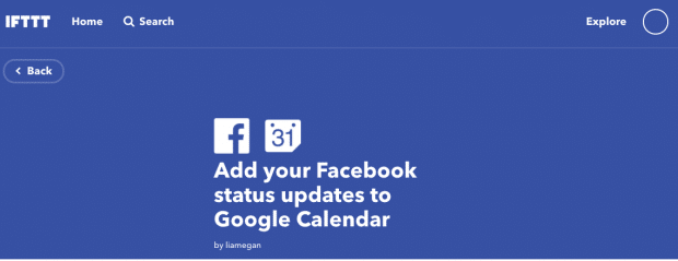 "IFTTT prompt to ""Add your Facebook status updates to your Google Calendar"""