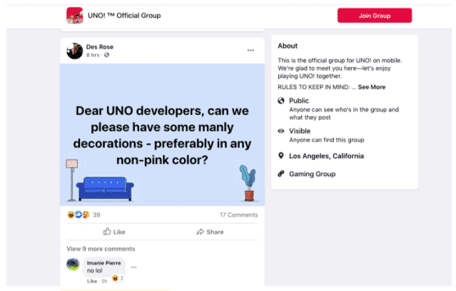 "Customer request for ""manly decorations"" in Uno! Facebook group"