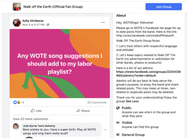 Fans asking each other for playlist suggestions in Walk off the Earth Facebook group
