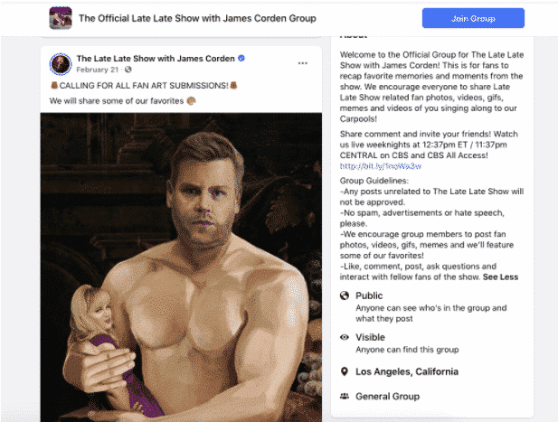 Call for fan art submissions in Late Late Show with James Corden Facebook group