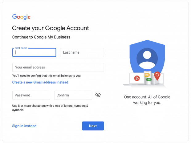 sign in to Google account page