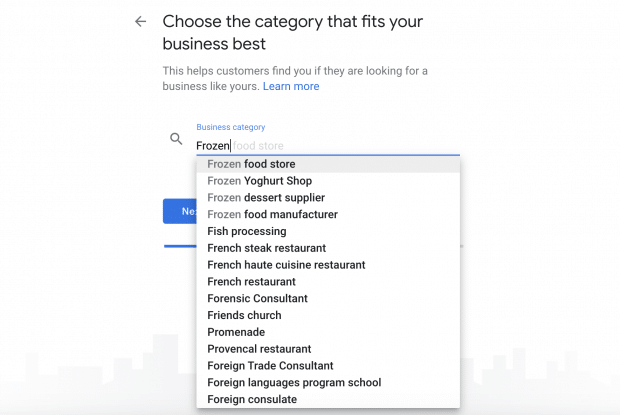category search on Google My Business