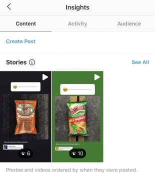 Instagram Stories Insights content tab