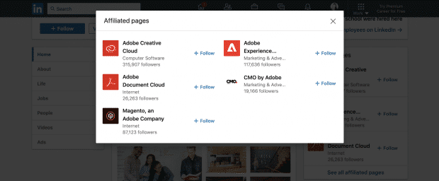 Adobe LinkedIn showcase pages