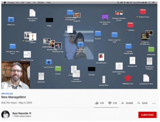 Annuncio YouTube di MintMobile, Ryan Reynolds condivide il suo desktop su Zoom