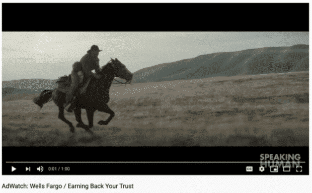 YouTube ad by Wells Fargp featuring man riding a horse