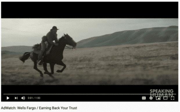 Annuncio YouTube di Wells Fargp con un uomo a cavallo