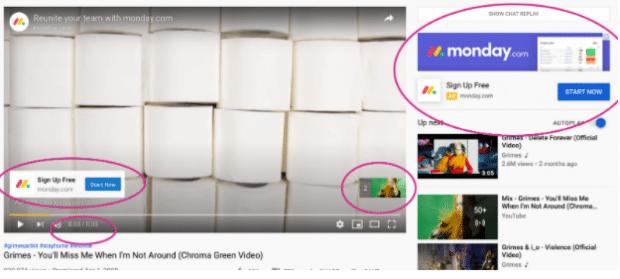 Overlay di annunci YouTube di Monday.com