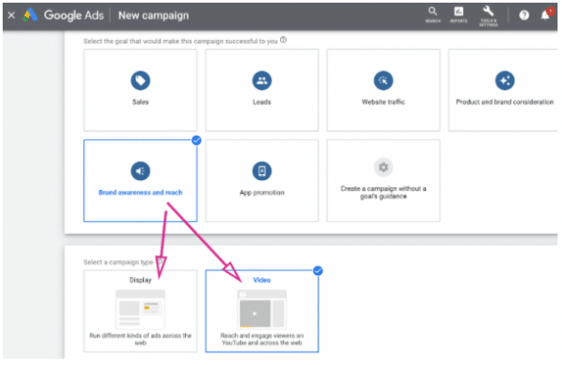 Google Ads campaign dashboard highlighting Display and Video