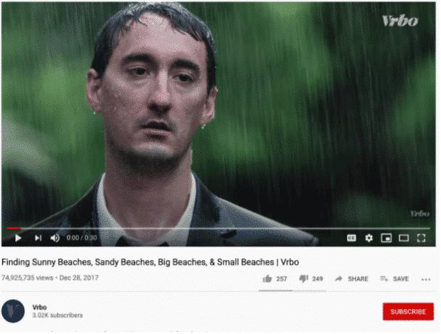 youtube ad by VRBO, sad man in rain