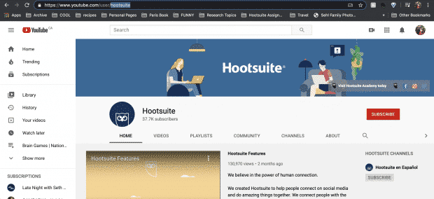 Hootsuite's YouTube URL