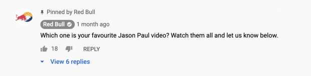 YouTube comment pinned