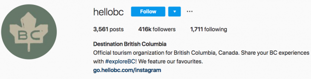 Destination BC Instagram bio