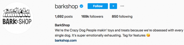 Bark Shop's Instagram bio
