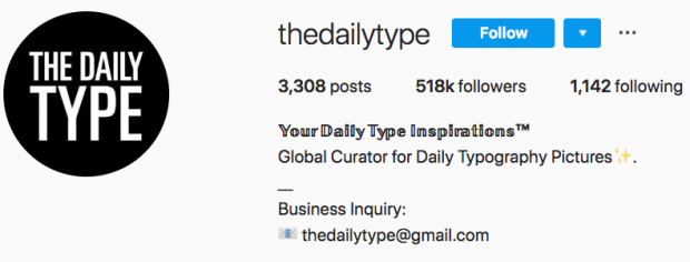 The Daily Type Instagram bio with special font