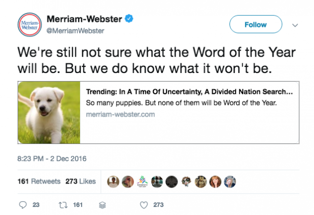 Merriam-Webster Twitter - langweilige produkte