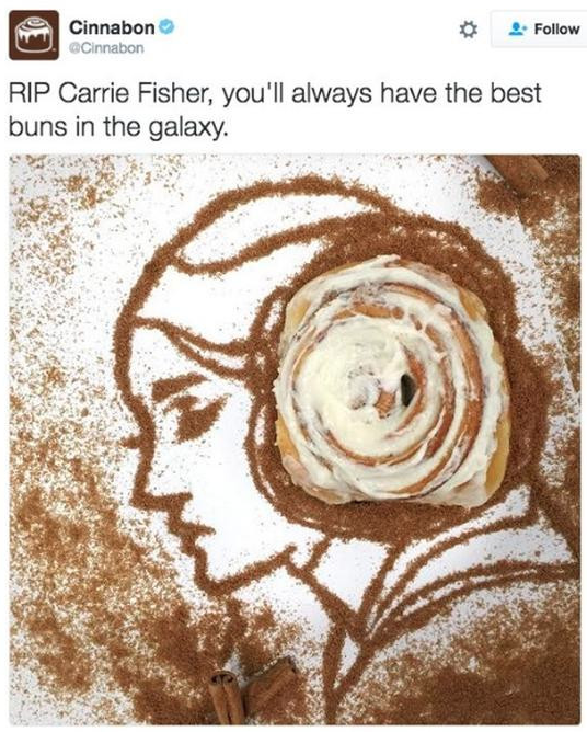 cinnabon Carrie Fisher tweet