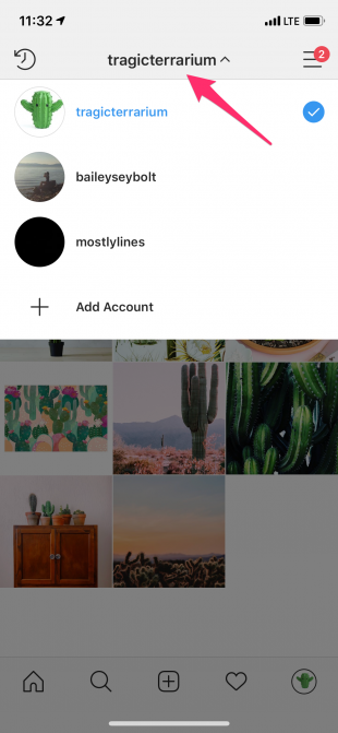 switch between Instagram accounts