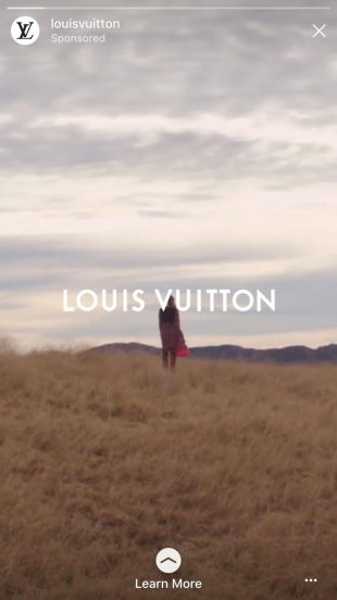 instagram story ad by Louis Vuitton